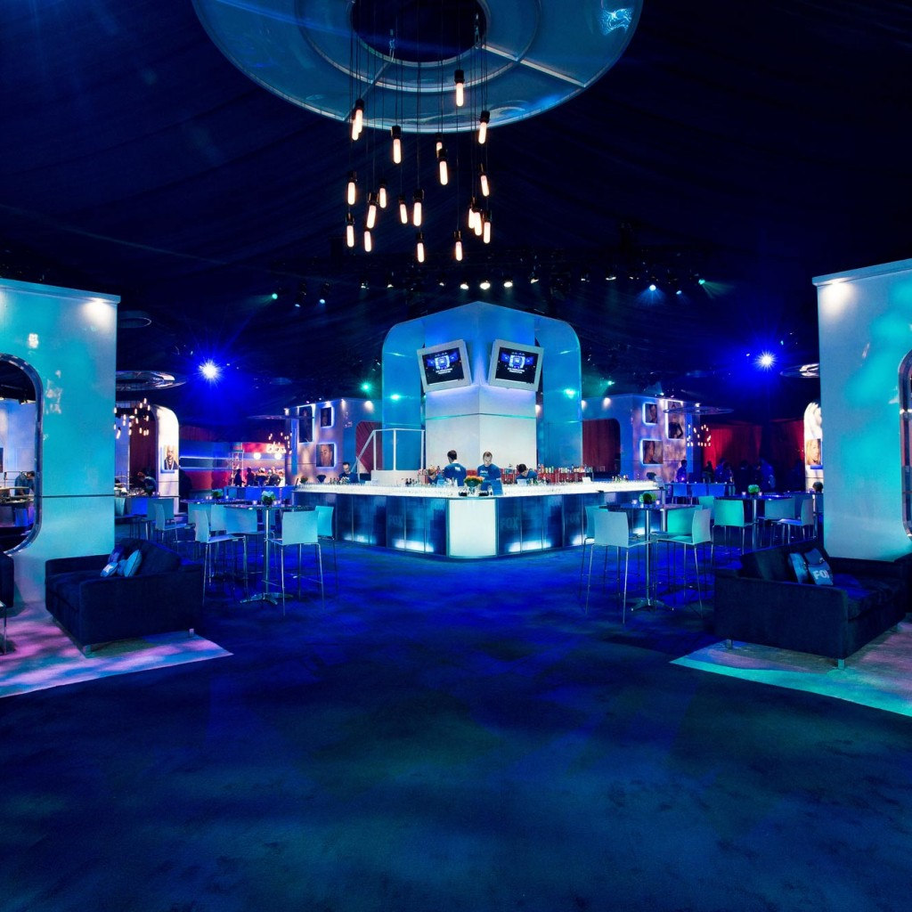 corporate party event TV network upfront entertainment bar design layout | scenicorp.coom