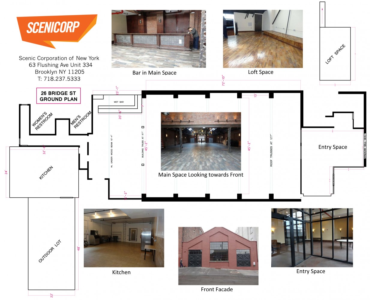 A Scenicorp Site Survey - layout of event venue space with scaled dimensions and build requirements