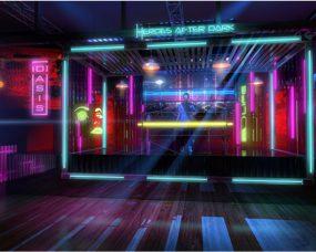 Neon Noir NYC Heros After Dark Comic Con Installation